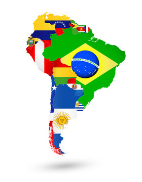 South America Map with flags and location on world map