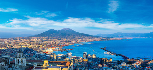 Poster Naples Napoli and mount Vesuvius in Italy