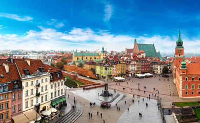 Panoramic view of Warsaw Wall mural
