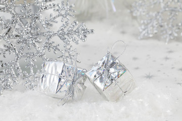 Christmas decorations in silver tones