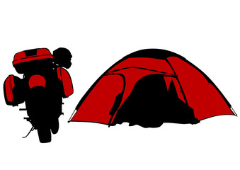 Wall Mural - Motorcycl and tent on white background