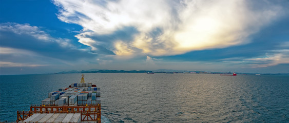Industrial container ship enters the Laem Chabang bay