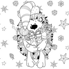 Zentangle doodle hand drawn christmas hedgehog with gift box on white background. Christmas vector sketch isolated.Seamless pattern.