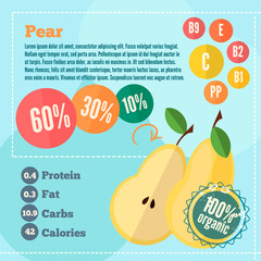 Pear vitamins infographics in a flat style. Vector illustration EPS 10