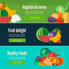 Collection of web banners with fruits and vegetables. Healthy food banner in flat style .EPS 10