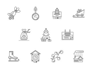 Merry Christmas line vector icons set