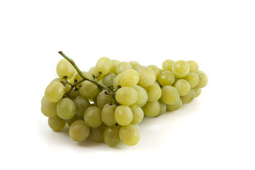 ..bunch of fresh green grapes on a white background