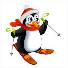 Cartoon penguin on ski