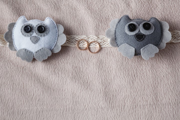Wedding card decorationwith with couple owl. Soft cozy backgroun