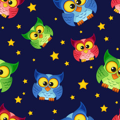 Seamless pattern with owls and stars