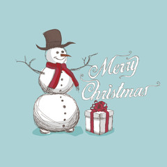 hand drawn snowman, with merry christmas lettering
