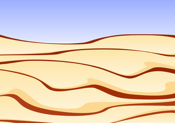 Illustration of a sand desert with clear blue sky