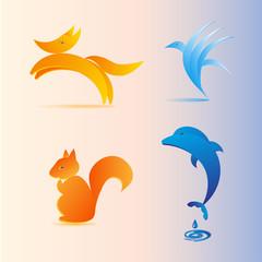 bird, dolphin, fox, squirrel