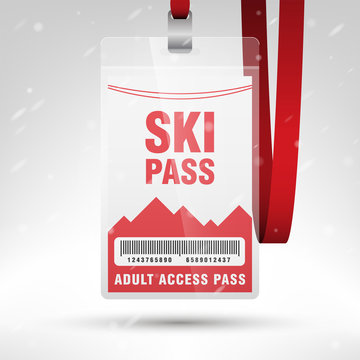 Ski pass vector illustration. Blank ski pass template with barcode in plastic holder with red lanyard. Vertical layout.