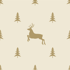 christmas reindeer seamless line pattern tile background