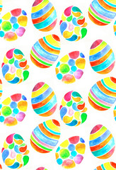 Watercolor egg seamless patten