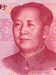 Mao Zedong on 100 chinese yuan banknote macro, China money closeup