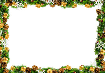Christmas frame isolated on a white background