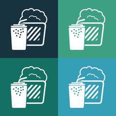 Popcorn and cola soda drink cup icon