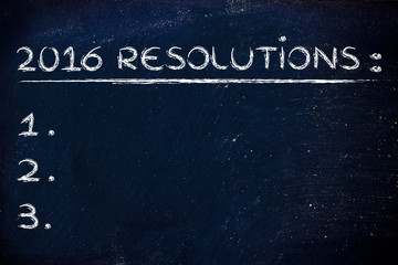 2016 resolutions: empty list background to add your text