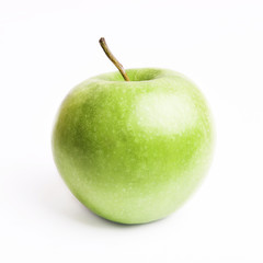 Green apple isolated on white background as package design element