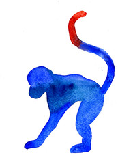 Aquarelle silhouette of blue monkey