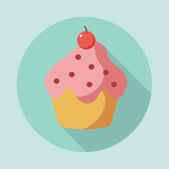 Vector of Dessert Cake and Pastries in flat design. Can be used as card or t-shirt print or for label, menu