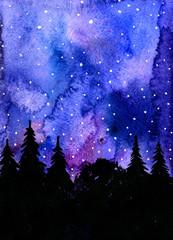 Wonderful night woodland landscape aquarelle