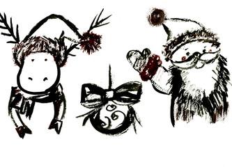 Christmas symbols aquarelle sketches