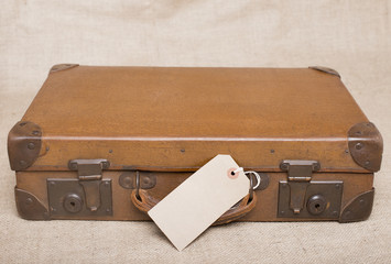 Vintage Leather Suitcase With Blank Luggage Label