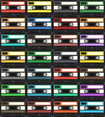 Audiocassette seamless pattern. Vector Illustration