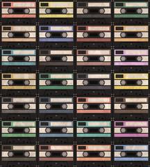 Audiocassette vintage pattern. Vector Illustration