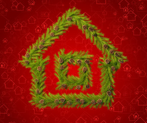 Christmas wreath in the shape of a house