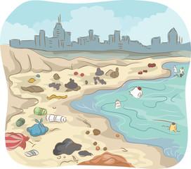 Polluted Sea Shore