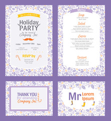 Vector Puprle Holiday Party Invitation Set With Holly Berry Pattern Frame. Invite menu thank you placement card