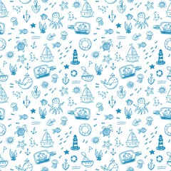 Hand drawn nautical seamless background