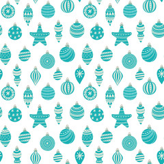 Seamless vector holiday pattern with christmas balls.