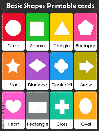 graphic about Free Printable Shape Flashcards identified as Geometric styles flash playing cards\