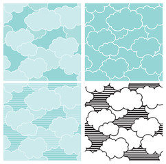 Cloudy sky. Vector seamless patterns  of blue sky with clouds