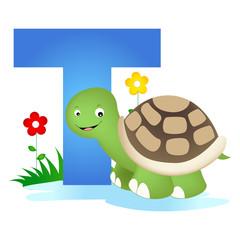 Animal alphabet letter T