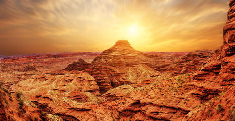 sunrise,sunset skyline and landscape of red sandstone Wall mural