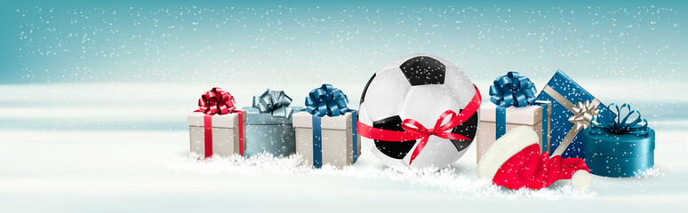 Holiday Banner with a Gift Boxes and Soccer Ball. Vector
