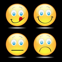 A set of fun happy yellow smilies