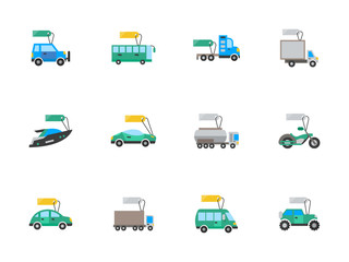 Auto business flat color vector icons set