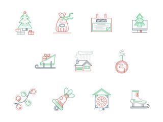 Winter theme color line icons vector collection