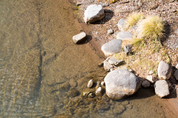 Edge of the Animas River - clear water, rocks and dry plants