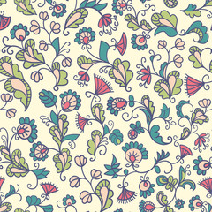 Colored seamless pattern. Plants and flowers.