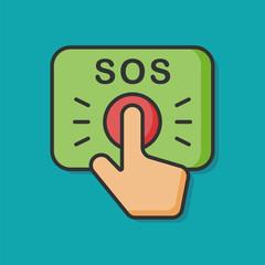 SOS emergency button vector icon