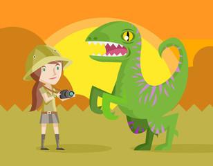 fotógrafa en safari con dinosaurio