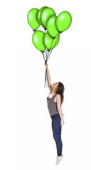 Woman being lifted up in the air by balloons.